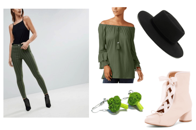 Florette Video Game Outfit Inspiration: Green Striped Denim Jeggings, Olive Off The Shoulder Crinkle Top, Broccoli Earrings, Black Bowler Hat, Mira Corset Booties