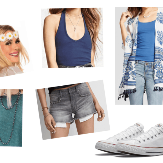 How to repurpose a costume: Flower child headband from a 1960s costume paired with a halter neck tank top, embellished jean shorts, blue and white kimono jacket, white converse sneakers