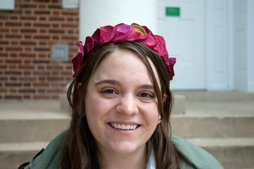 DIY flower headband on campus at UMCP