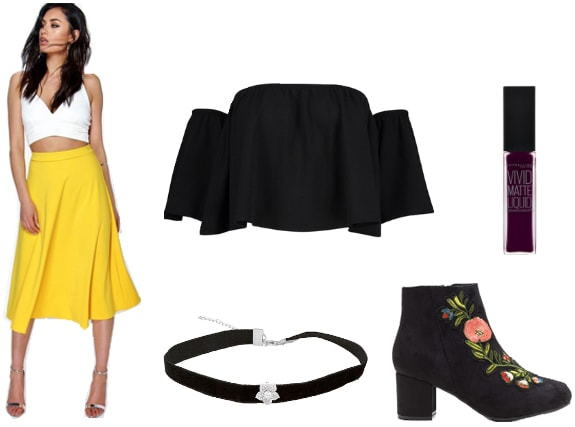 Outfit inspired by Flowey the Flower from Undertale: Yellow midi skirt, off-shoulder top, choker, black embroidered ankle boots
