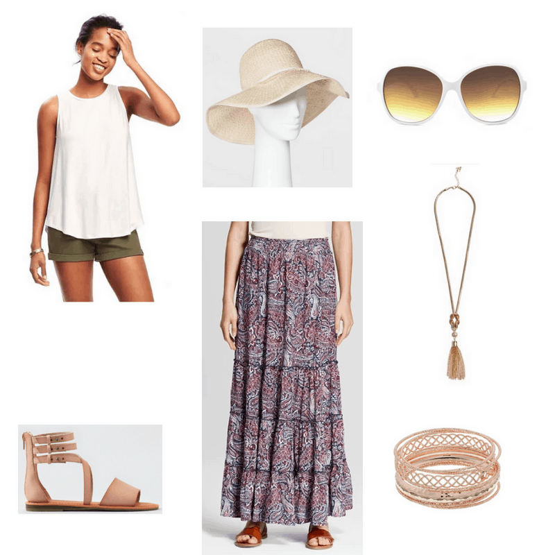 Outfit with cream tank, paisley maxi skirt, floppy hat, white sunglasses, gladiator sandals, tassel necklace, and gold bangles