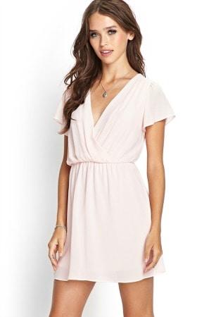 Flutter sleeve surplice dress
