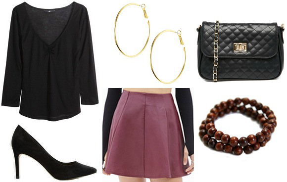 Outfit inspired by Jess from Focus - Purple skirt, black 3/4 sleeve top, hoop earrings, pumps, faux Chanel bag