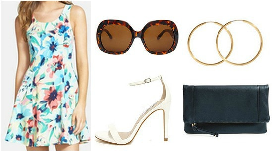 Outfit inspired by Jess from Focus - floral dress, strappy heels, sunglasses, clutch