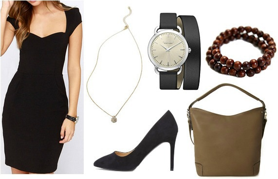 Outfit inspired by Jess from Focus - little black dress, small necklace, black pumps, tan bag