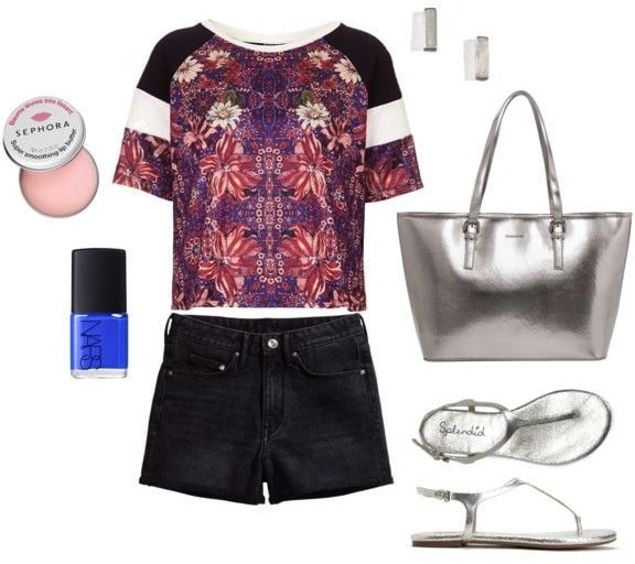 How to Wear a Folk Print Tee to Class with Shorts and Metallic Accessories