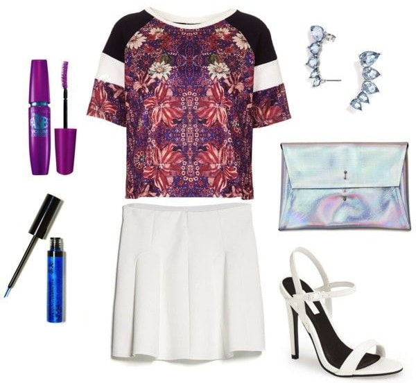 How to Wear a Folk Print Tee on a Night Out with a White Skirt and Heeled Sandals