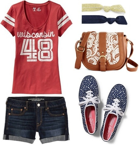 Football game outfit shorts, college tee, and sneakers