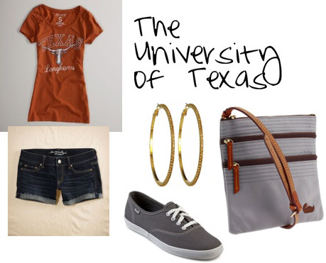 Football game outfit: University of Texas tee, shorts, simple sneakers