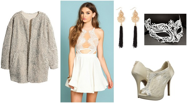Outfit inspired by Ella Enchanted - light colored dress, jacket, nude heels