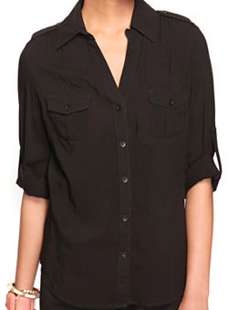 Forever 21 black button-down shirt with pockets