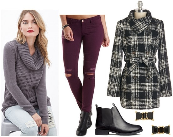 Forever 21 cowl neck sweater, colored skinnies, Chelsea boots, plaid coat