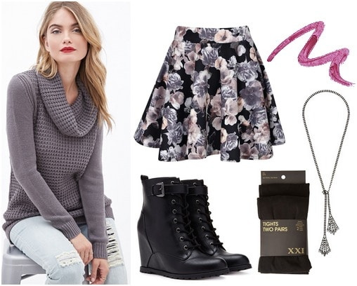 Forever 21 cowl neck sweater, floral skirt, lace up booties, tights