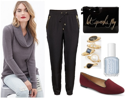 Forever 21 cowl neck sweater, joggers, loafers