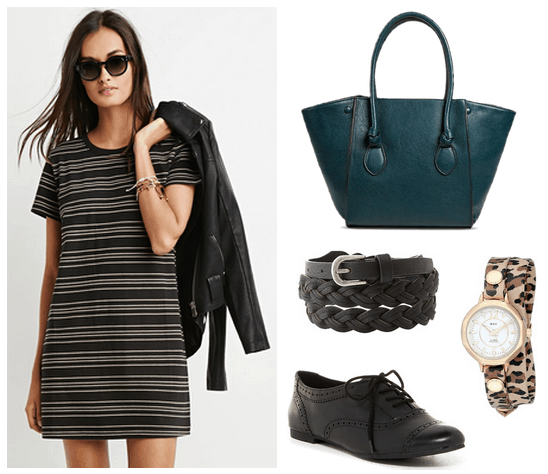 striped t-shirt dress, oxfords, teal tote