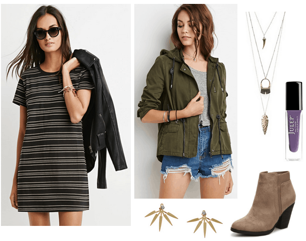 striped t-shirt dress, utility jacket, booties