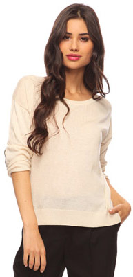 Forever 21 Elbow Patch Sweater in Beige