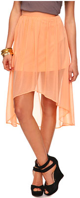 Forever 21 Essential Dotted High-Low Skirt in Peach/White