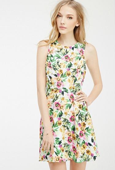 Forever 21 Floral Keyhole Dress