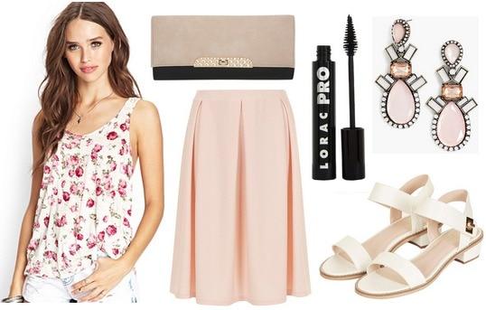 Forever 21 floral tank, blush skirt, sandals, clutch