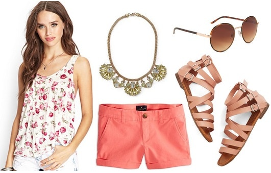 Forever 21 floral tank, coral shorts, sandals