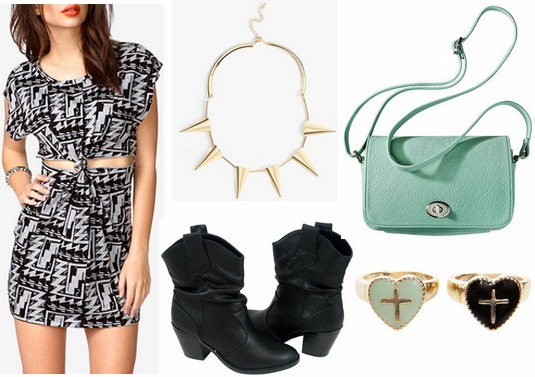 Forever 21 geometric print dress, ankle booties, spiked necklace, mint bag