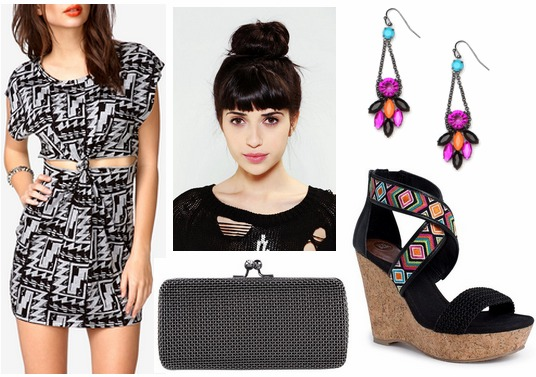 Forever 21 geometric print dress, wedges, mesh clutch, statement earrings
