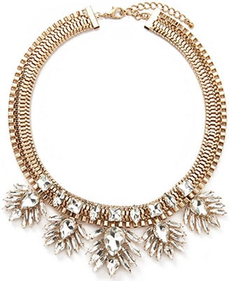 Forever 21 Gold and Crystal statement necklace