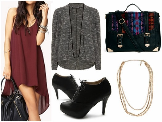Forever 21 high low dress, jacket, booties, satchel, chain necklace