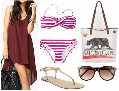 Forever 21 high low dress, sandals, bikini, tote