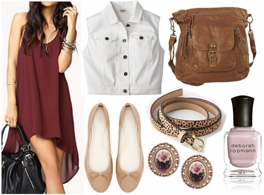 Forever 21 high low dress, vest, flats, crossbody bag, leopard belt, earrings, nail polish