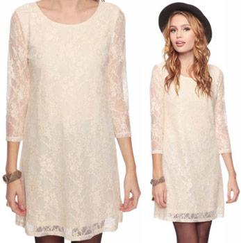 Forever 21 beige lace shift dress