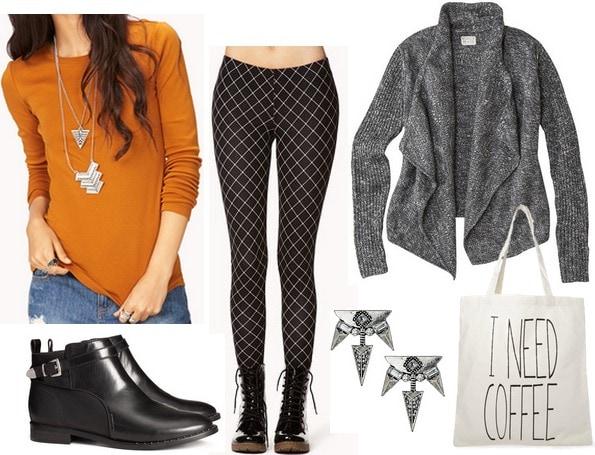 Forever 21 mustard long sleeved tee, leggings, ankle boots, cardigan