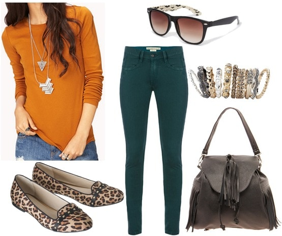 Forever 21 mustard long sleeved tee, teal jeans, leopard loafers
