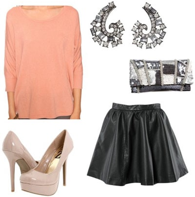 How to wear a pink Forever 21 dolman sweater with a dressy skirt and heels