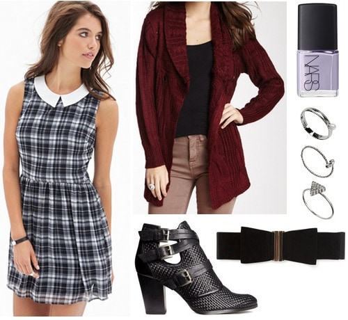Forever 21 plaid dress, burgundy cardigan, textured ankle boots