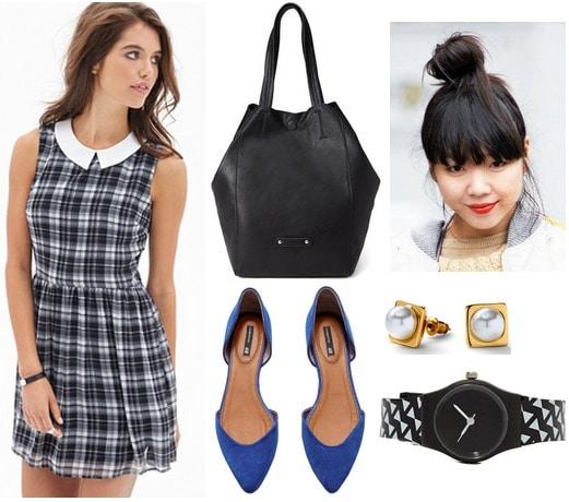 Forever 21 plaid dress, cobalt flats, black tote bag