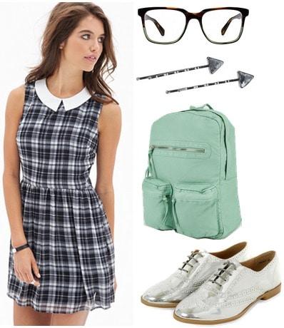Forever 21 plaid dress, metallic oxfords, mint green backpack
