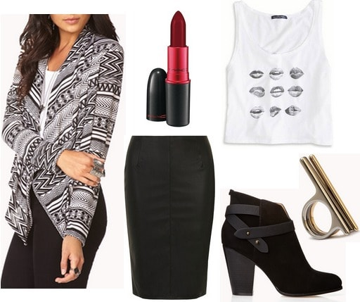 Forever 21 printed cardigan, pencil skirt, tank, ankle boots
