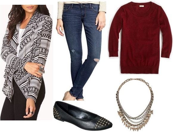 Forever 21 printed cardigan, sweater, jeans, flats