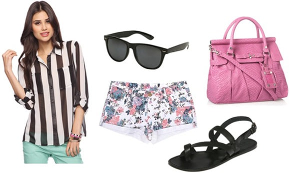 """""""How to wear a Forever 21 striped blouse with floral shorts, sandals, and a pink handbag"""