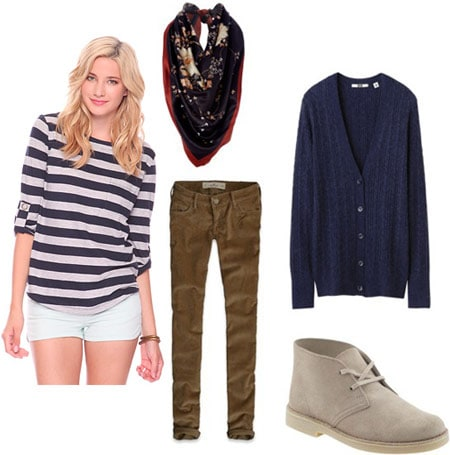 How to wear a Forever 21 striped shirt with a navy blue cardigan, neutral corduroy pants, light colored ankle booties, and a scarf