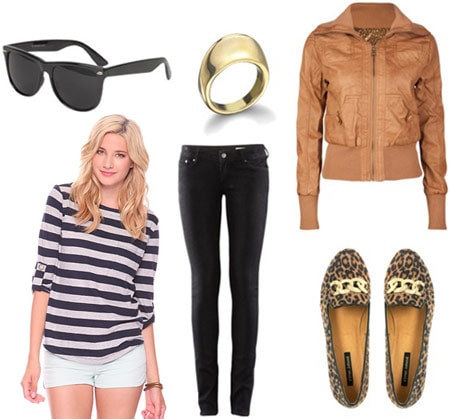 How to wear a Forever 21 striped shirt with a brown leather jacket, black jeans, wayfarers and loafers