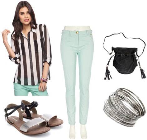 How to wear a Forever 21 striped blouse with mint skinny jeans, sandals, and a cross body bag