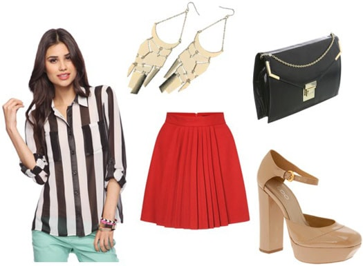 How to wear a Forever 21 striped blouse with a red skirt and camel heels, plus earrings and a clutch