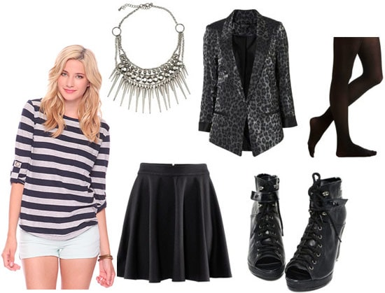 How to wear a Forever 21 striped shirt with a black full skirt, leopard blazer, ankle booties, a spike necklace and tights