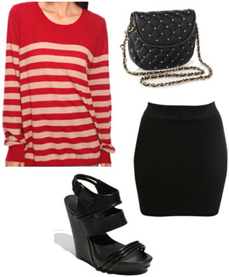 Outfit idea: Forever 21 red and white striped sweater, bandage skirt, wedges
