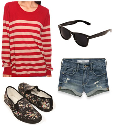 Outfit idea: Forever 21 red and white striped sweater, denim shorts, floral loafers