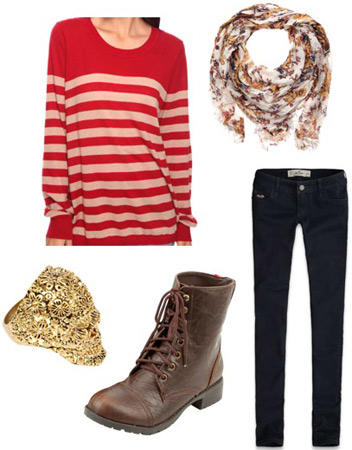 Outfit idea: Forever 21 red and white striped sweater, skinny jeans, boots