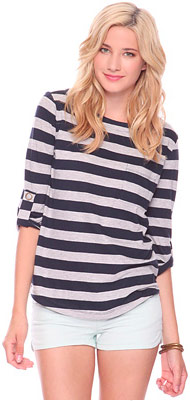 Forever 21 3/4 Slv Striped Top